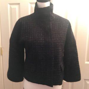 Express silver prom shrug black turtleneck coat